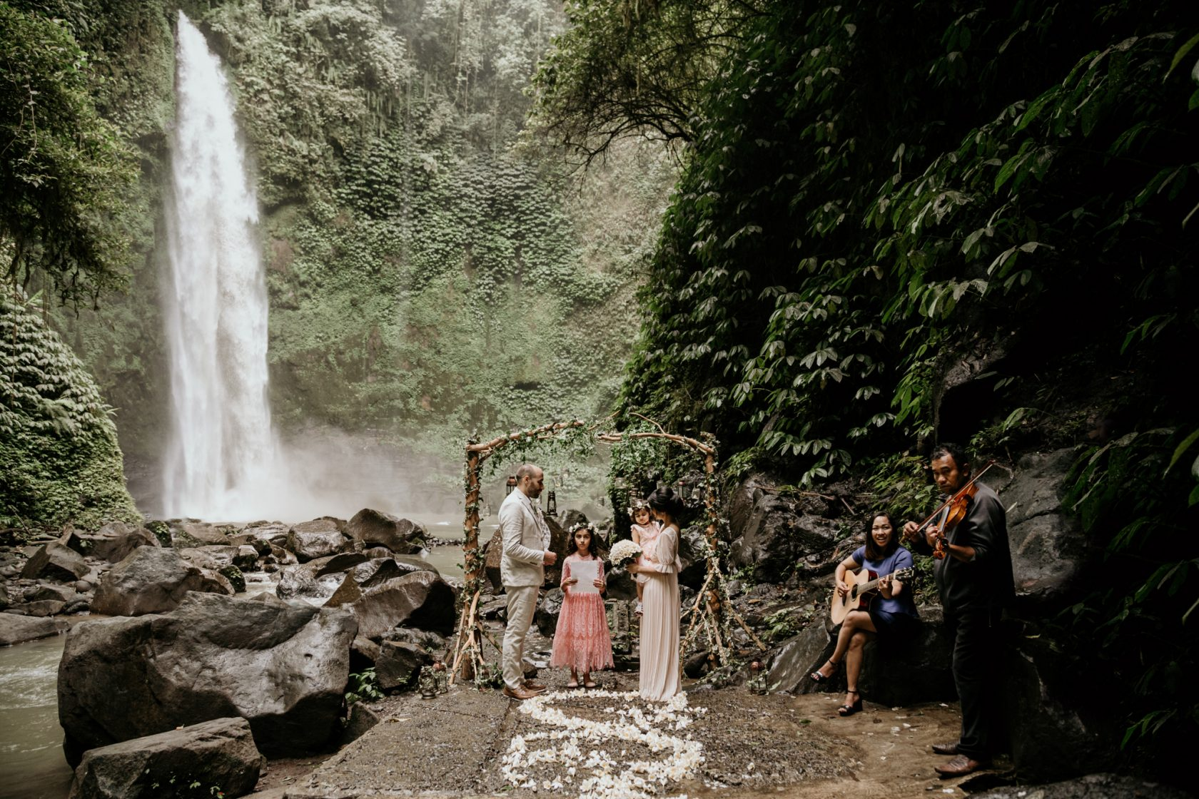 A Sweet & Extraordinary Waterfall Vow Renewal Ceremony in Bali